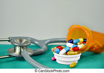 Medicine and stethoscope in diagnosis and medicine treatment concept.