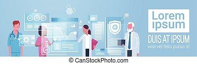 Medicine And Technology Concept Medical Doctors Group Using Modern Digital Computer