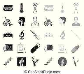 Medicine and treatment black. mono icons in set collection for design. Medicine and equipment vector symbol stock web illustration.