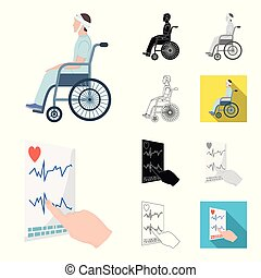 Medicine and treatment cartoon, black, flat, monochrome, outline icons in set collection for design. Hospital and equipment vector symbol stock web illustration.