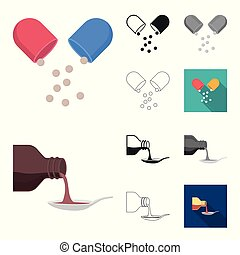 Medicine and treatment cartoon, black, flat, monochrome, outline icons in set collection for design. Medicine and equipment vector symbol stock web illustration.