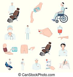 Medicine and treatment cartoon icons in set collection for design. Hospital and equipment vector symbol stock web illustration.