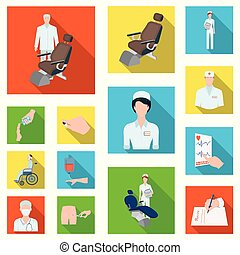 Medicine and treatment flat icons in set collection for design. Hospital and equipment vector symbol stock web illustration.