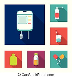 Medicine and treatment flat icons in set collection for design. Medicine and equipment vector symbol stock web illustration.