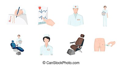 Medicine and treatment icons in set collection for design. Hospital and equipment vector symbol stock web illustration.