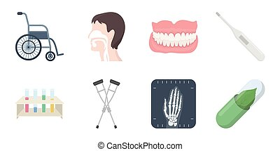 Medicine and treatment icons in set collection for design....