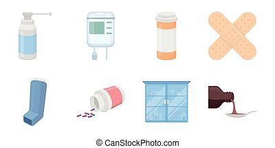 Medicine and treatment icons in set collection for design. Medicine and equipment vector symbol stock web illustration.