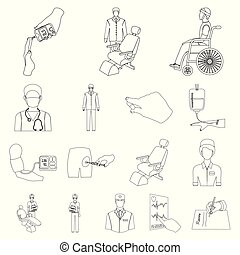 Medicine and treatment outline icons in set collection for design. Hospital and equipment vector symbol stock web illustration.