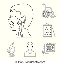 Medicine and treatment outline icons in set collection for design. Medicine and equipment vector symbol stock web illustration.