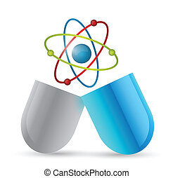medicine atom pill illustration design