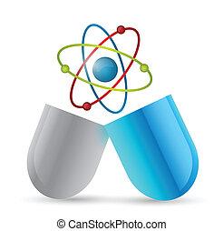 medicine atom pill illustration design