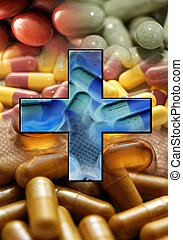 medicine background with blue cross