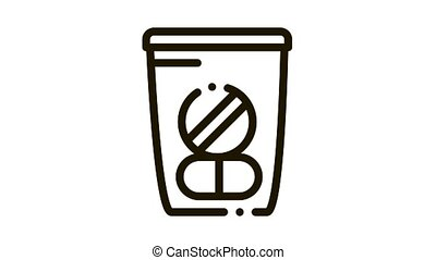 Medicine Bag Supplements animated black icon on white background