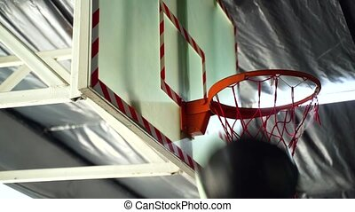 Medicine Ball hits the back of the basketball hoop in gym.