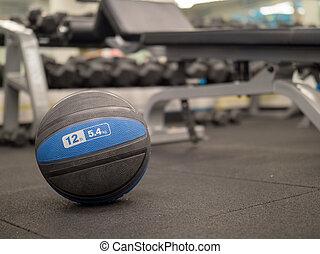 Medicine ball in modern gym