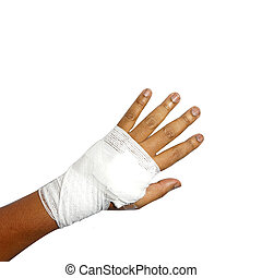 medicine bandage on human hand - White medicine bandage on...