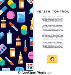 Medicine banner design with bright flat icons