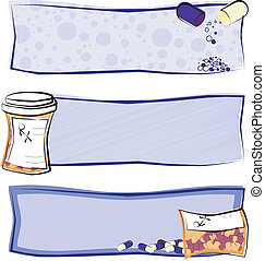 Medicine Banners - Banner images in blue with pill capsules...