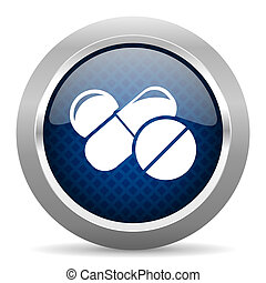 medicine blue circle glossy web icon on white background, round button for internet and mobile app
