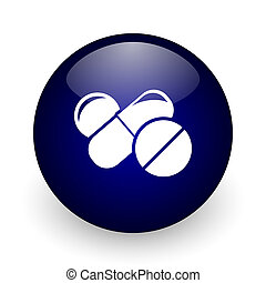 Medicine blue glossy ball web icon on white background. Round 3d render button.