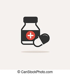 Medicine bottle and pills color icon with shade on a beige background
