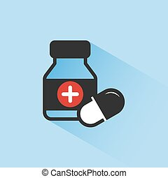Medicine bottle and pills color icon with shade on a blue background