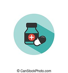 Medicine bottle and pills color icon with shade on a green circle
