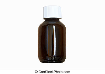 Medicine Bottle - Medicine bottle in brown isolated on white