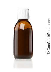 Medicine bottle of brown glass or Plastic isolated on white...