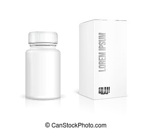 Medicine bottle on white background. White plastic bottle,...