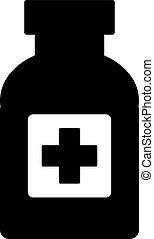 Medicine bottle on white.