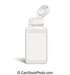 medicine bottle - open medicine bottle with label isolated...