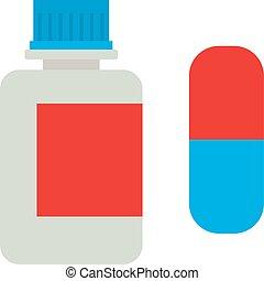 Medicine bottle vitamins jar vector illustration on white background.