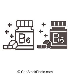 Medicine bottle with vitamins line and solid icon, Gym concept, vitamin B supplement sign on white background, Bottle of pills icon in outline style for mobile concept and web design. Vector graphics.