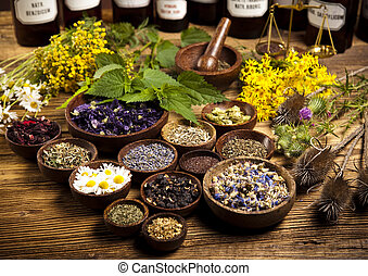 Medicine bottles and herbs, natural colorful tone