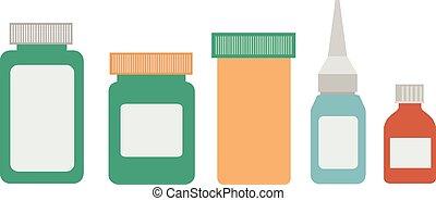 medicine bottles on white background vector