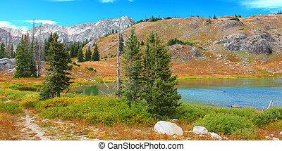 Medicine Bow Lake Landscape Wyoming - Bellamy Lake below the...