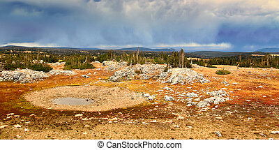 Storm clouds over Libby Flats near Snowy Range Pass in the Medicine Bow National Forest of Wyoming.
