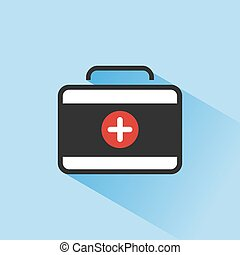 Medicine briefcase color icon with shadow on a blue background