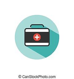 Medicine briefcase color icon with shadow on a green circle