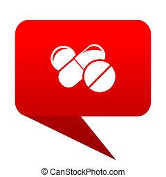 medicine bubble red icon