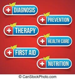 Medicine button set vector