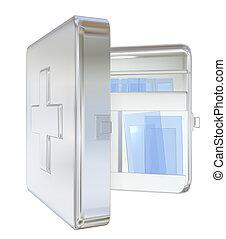 Medicine cabinet, 3D illustration - Medicine cabinet, white,...
