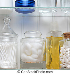 Medicine Cabinet Closeup - Closeup of two shelves of a...