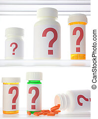Medicine Cabinet Of Doubt - A few pill bottles in a medicine...