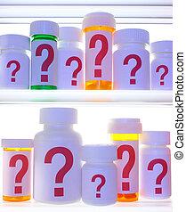 Medicine Cabinet of Questions - Close crop of medicine...