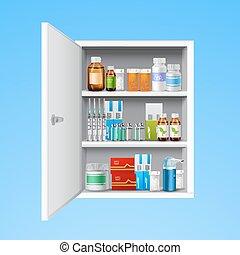 Medicine cabinet realistic - Medicine cabinet with tablets...