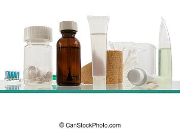medicine cabinet - Clean and simple view of a shelf in a...
