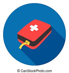Medicine chest icon in flat style isolated on white background. Camping symbol stock vector illustration.
