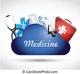 medicine cloud icons illustration design